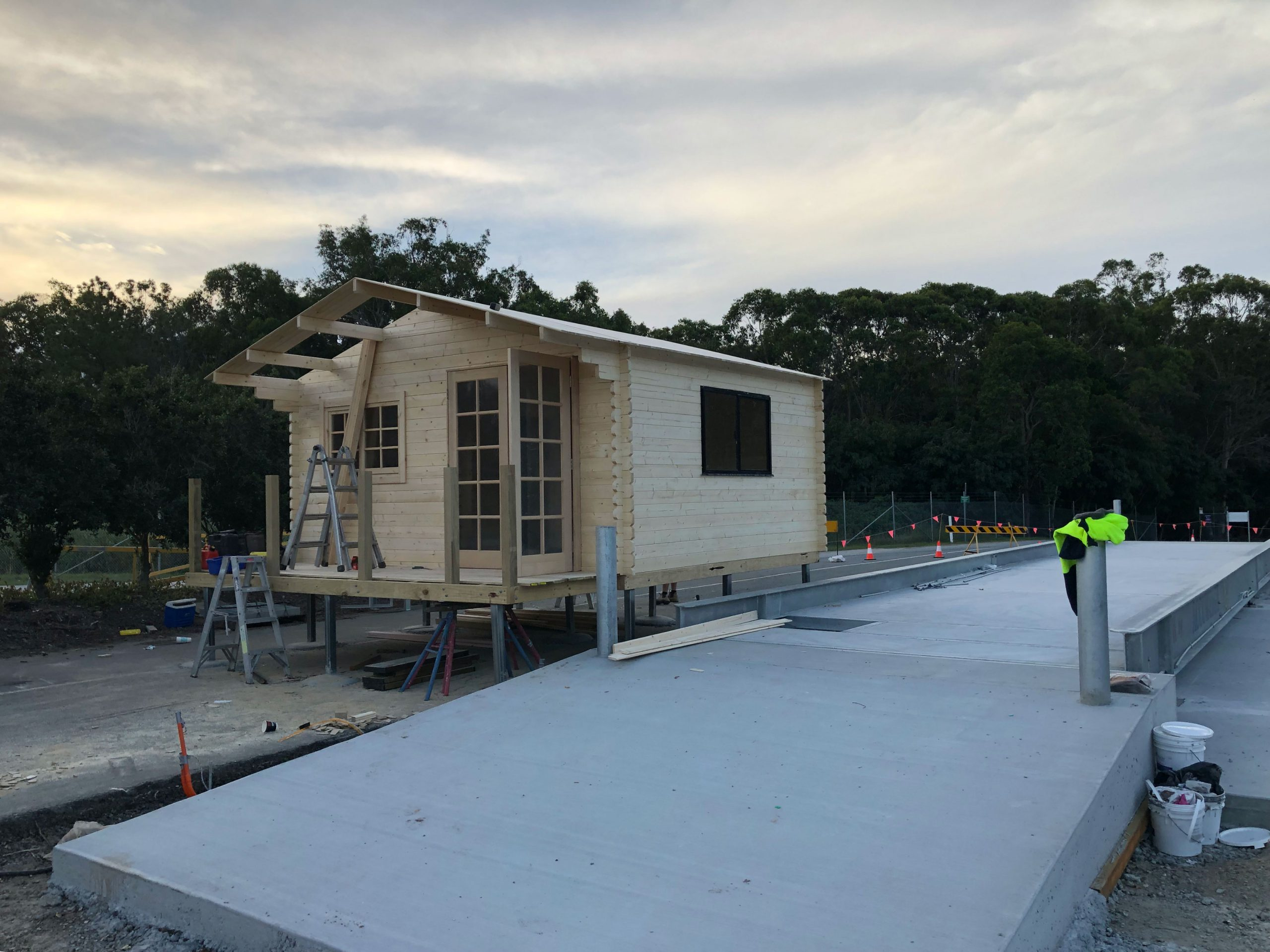 Cabin being built